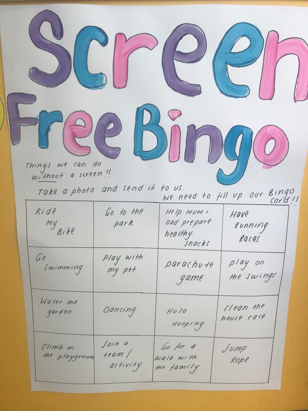 Screen free bingo- Kids on Regent