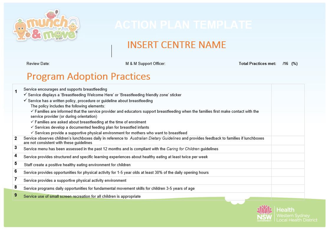 Action plan template image