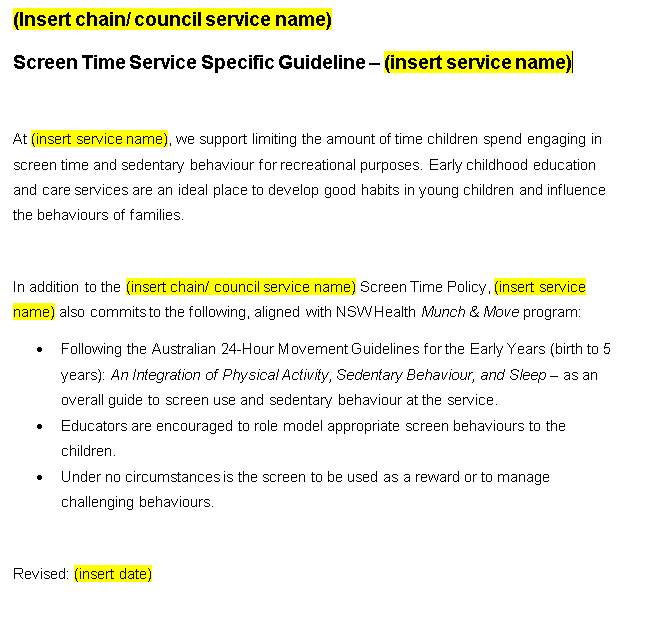 screen time service specific document