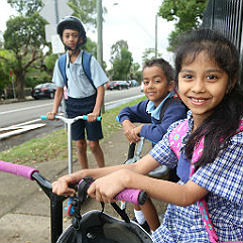 kids on bike and scooter