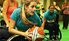 Game of basketball in wheelchair