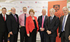 NSW Health Minister Jillian Skinner, University of Sydney Vice Chancellor Dr Michael Spence, WSLHD chief executive Danny O'Connor and Sydney Children's Hospitals Network chief executive Dr Michael Brydon celebrating the historic partnership between the University of Sydney and Westmead precinct partners