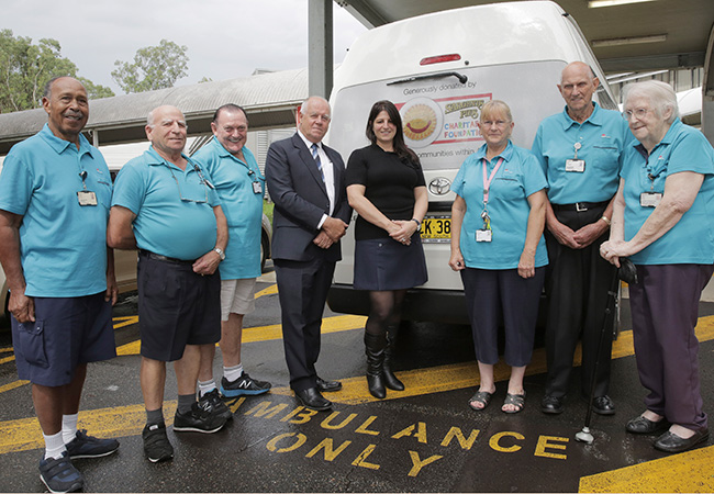 Mount Druitt Hospital's hard-working volunteers have taken the first journey behind the wheel of their new transport service bus after it was officially handed over on 14 March 2017
