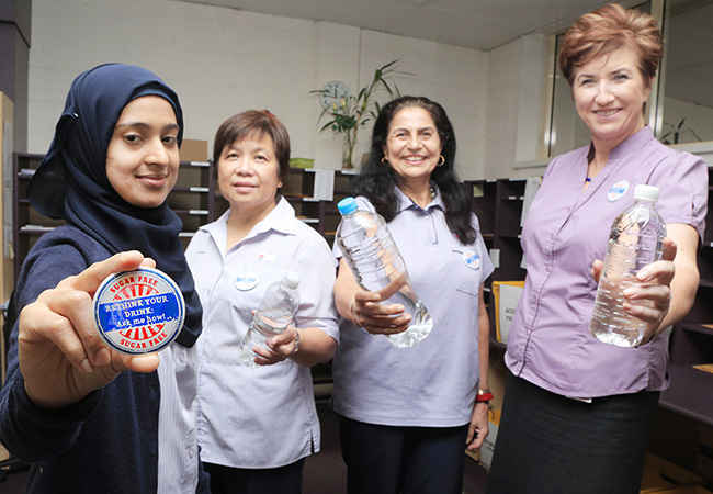 Westmead Postal Service staff Fatima Quadri, Nely Mendoza, Shinder Gill and Jude Frazer getting behind the Rethink your Drink campaign