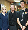 Cricketing legend Michael Clarke with Westmead Hospital registered nurse Cherie Clark and nurse educator Matthew Han